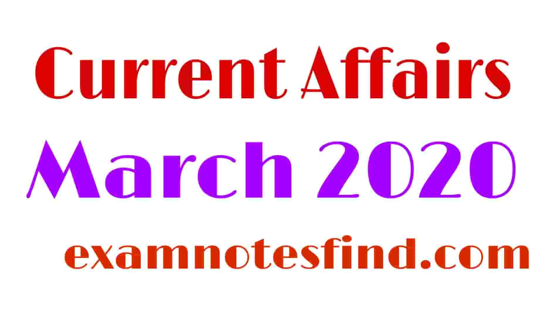 Current Affairs March 2020 in Hindi